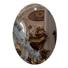 Baroque interior. Gold spiral stairc Oval Ornament
