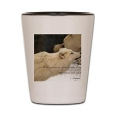 Native American Proverb-wolf Shot Glass