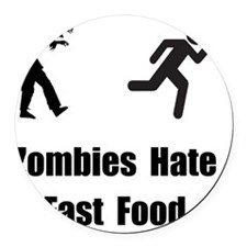 Zombie Fast Food Black Round Car Magnet
