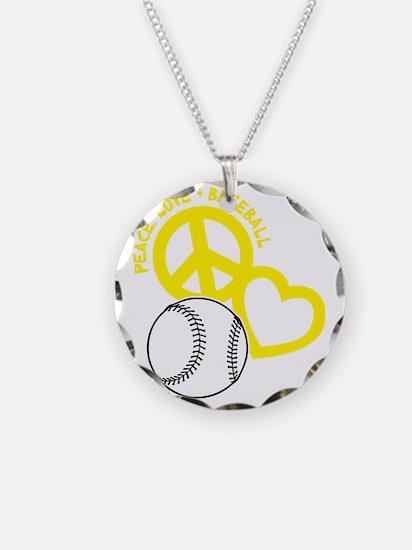 Peace, Love  Baseball, yello Necklace