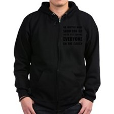 Lapping Everyone On Couch Black Zip Hoodie