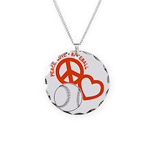 P,L,Baseball, orange on blac Necklace
