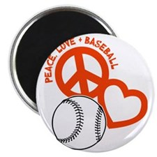 P,L,Baseball, orange on black Magnet