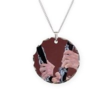 Clarinet Hands a Shirt Necklace Circle Charm