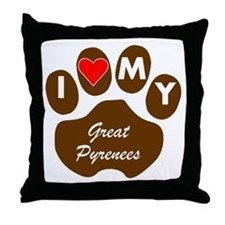 I Heart My Great Pyrenees Throw Pillow