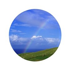 "Ballintoy. A rainbow arcs above grazin 3.5"" Button"