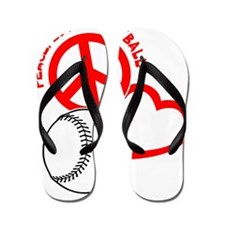 P,L,Baseball, on black red Flip Flops