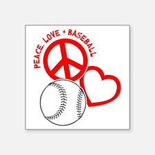 "P,L,Baseball, on black red Square Sticker 3"" x 3"""