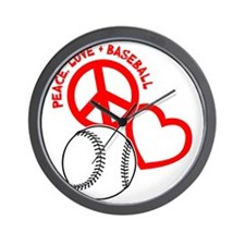 P,L,Baseball, on black red Wall Clock