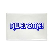 Blue Awesome 80's Text Rectangle Magnet