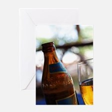Bottle and Glass of Safari Lager Bee Greeting Card