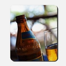 Bottle and Glass of Safari Lager Beer. Z Mousepad