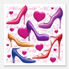 """561 I Love Shoes for Caf Square Car Magnet 3"""" x 3"""""""