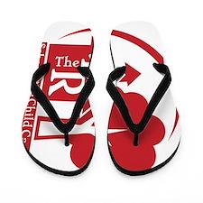 4th R logo, dk red sideways Flip Flops