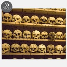 Meteora. Skulls of monastics on shelves in  Puzzle