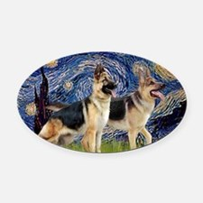 Starry Night - Two German Shepherd Oval Car Magnet