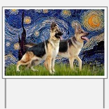 Starry Night - Two German Shepherds Yard Sign