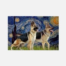 Starry Night - Two German Shepher Rectangle Magnet