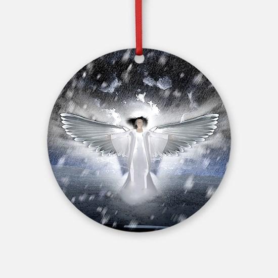 snowangel2sq Round Ornament