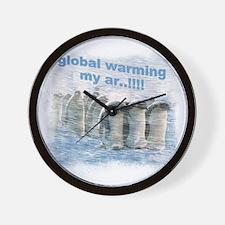 557 Global Warming Penguins for Cafe Pr Wall Clock