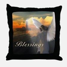 Lighthouse With Praying Angel Throw Pillow