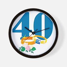 RingsFloral40 Wall Clock