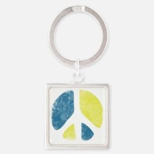 vintage-peace-sign Square Keychain