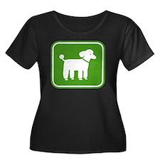 poodlesi Women's Plus Size Dark Scoop Neck T-Shirt