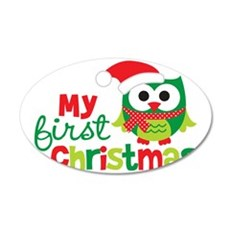 1stChristmasOwl_V2 35x21 Oval Wall Decal