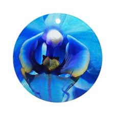 Blue Orchid Round Ornament