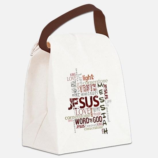 jesuswordcloud3 Canvas Lunch Bag