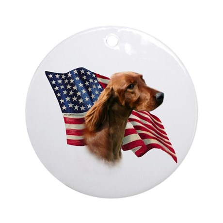 Irish Setter Flag Ornament (Round)