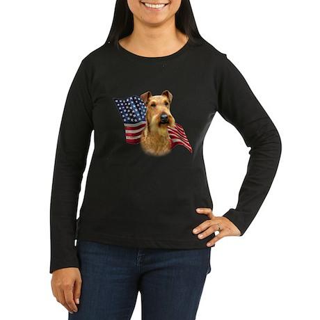 Irish Terrier Flag Women's Long Sleeve Dark T-Shir