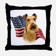 Irish Terrier Flag Throw Pillow