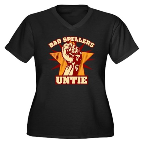 Bad Spellers Women's Plus Size Dark V-Neck T-Shirt