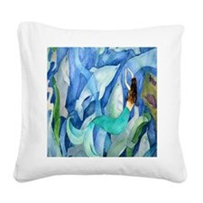 Dolphin  Mermaid Square Canvas Pillow