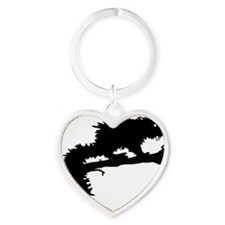 Fanged Squirrel on Branch Heart Keychain