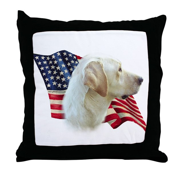 Yellow Lab Decorative Pillows : Yellow Lab Flag Throw Pillow by denofthedog