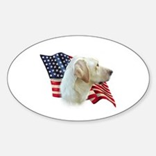 Yellow Lab Flag Oval Decal