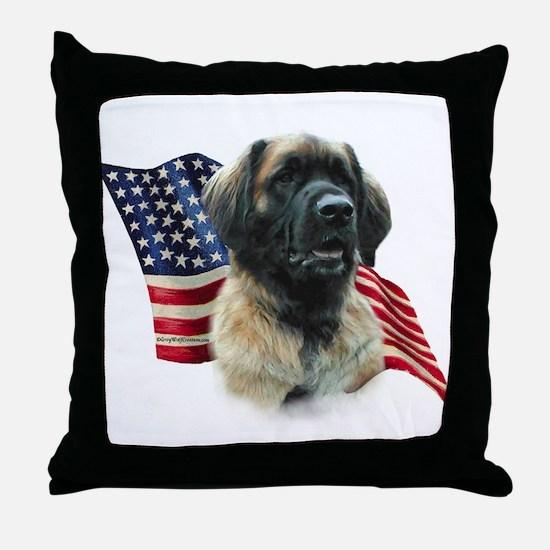Leonberger Flag Throw Pillow