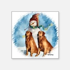 """posing with snowman apparel Square Sticker 3"""" x 3"""""""