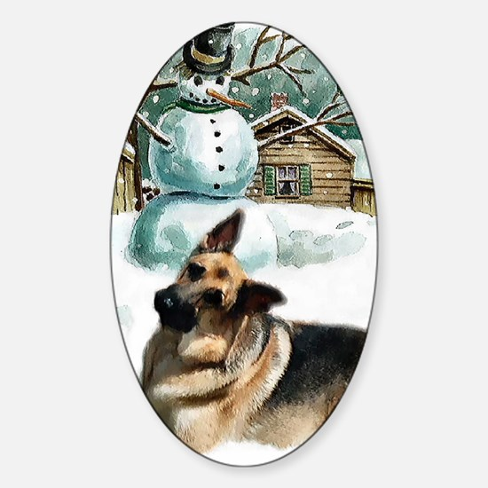 gsd snowman Sticker (Oval)
