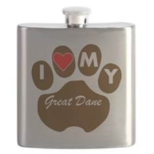 I Heart My Great Dane Flask