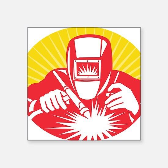 """welder welding worker holdi Square Sticker 3"""" x 3"""""""