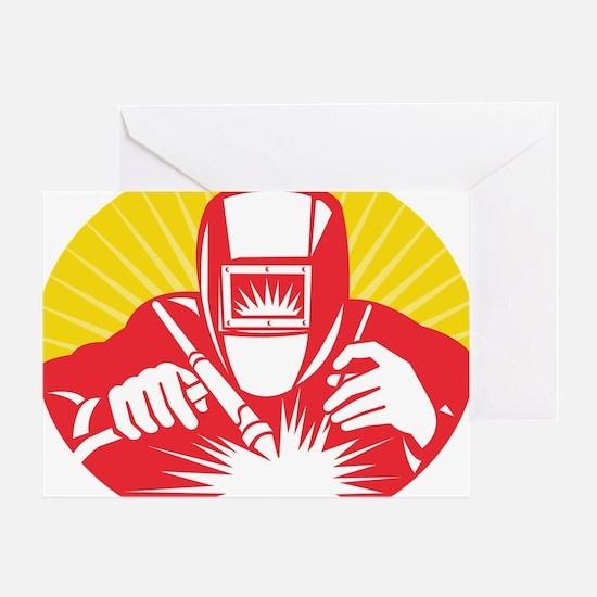 welder welding worker holding up equ Greeting Card