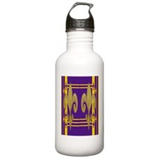 Purple  Gold Fleur de  Water Bottle