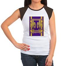 Purple  Gold Fleur de l Women's Cap Sleeve T-Shirt