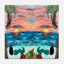 Aloha Mermaid Tile Coaster