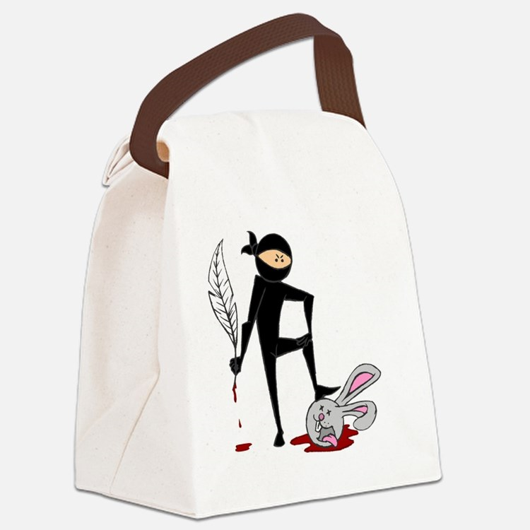 Plot Ninja kills Plot Bunny (colo Canvas Lunch Bag