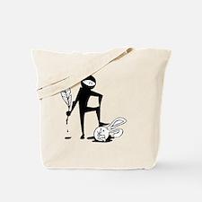 Plot Ninja kills Plot Bunny (b/w) Tote Bag